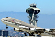 Lax Framed Prints - Asiana 747-400 and LAX Tower Framed Print by Jeff Lowe