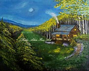 Log Cabin Art Paintings - Aspen Cabin by Leslie Allen
