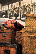 Wicker Baskets Prints - At Ellis Island Print by Dave Mills