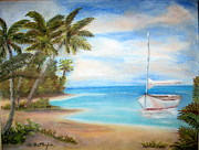 Sailboat Ocean Pastels - At Rest by Annette Battaglia
