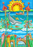 Kids Art Paintings - Atlantis by Sonja Mengkowski