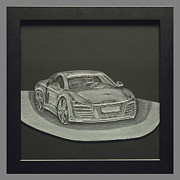 Engraved Glass Art Prints - Audi R8 Print by Akoko Okeyo