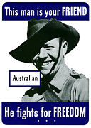 United States Government Prints - Australian This Man Is Your Friend  Print by War Is Hell Store