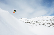 Only Men Framed Prints - Austria, Kleinwalsertal, Male Skier Jumping Mid-air Framed Print by Westend61