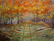 Tangerine Paintings - Autumn Country Road by Leslie Allen