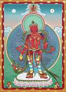 Thangka Framed Prints - Avalokiteshvara Korwa Tongtrug Framed Print by Sergey Noskov