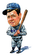 Famous Person Posters - Babe Ruth Poster by Art