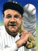 Babe Mixed Media Framed Prints - Babe Ruth Framed Print by John D Benson