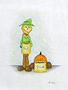 Holloween Drawings - Baggs and Boo Treat or Trick by Michael  TMAD Finney