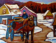 Impressionistic Horse Paintings - Baie Saint Paul Quebec Country Scene by Carole Spandau