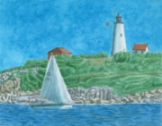 New England Lighthouse Painting Prints - Bakers Island Lighthouse Print by Dominic White