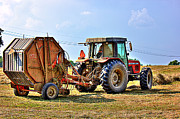 Hay Bales Digital Art Posters - Baling Hay Poster by Barry Jones