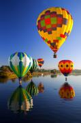 Hot Air Posters - Balloon Reflections Poster by Mike  Dawson