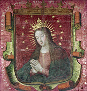 Virgin Mary Paintings - Banner Of Hernan Cortes by Granger