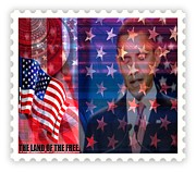 Barack Mixed Media Prints - Barack a Stamp Print by Fania Simon