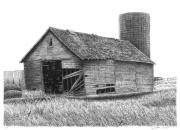 Farm Scenes Drawings Prints - Barn 19 Print by Joel Lueck