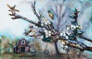Blossom Tree Artwork Prints - Barn and Blossoms Print by Tara Thelen