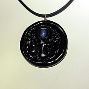 Moon Jewelry - Bas-relief Ankh Amulet with Star Sapphire by Pet Serrano