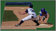 Mlb Metal Prints - Baseball Pick Off Attempt 02 Metal Print by Thomas Woolworth