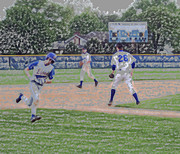 Mlb Metal Prints - Baseball Runner Heading Home Digital Art Metal Print by Thomas Woolworth
