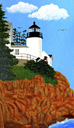 New England Lighthouse Painting Prints - Bass Harbor Head Lighthouse Painting Print by Frederic Kohli