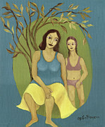 Bathing Paintings - Bathing mother and daughter  by Rachel Hershkovitz