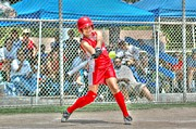 Hitter Posters - Batter In Red Poster by Richard Omura