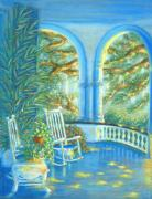 Rocking Chairs Pastels Framed Prints - Battery View at Sunset at Two Meeting Street Inn of Charleston SC Framed Print by Pamela Poole