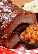 Tangy Photo Prints - BBQ Ribs with beans and cole slaw Print by David Smith