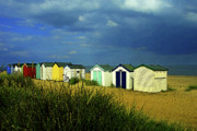 Beach Huts Digital Art Prints - Beach Huts Print by Mike Bambridge