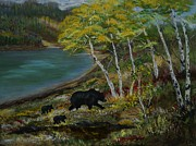 Cubs Painting Originals - Bear Country by Leslie Allen