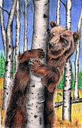 Aspen Trees Pastels Prints - Bear Hugs Print by Russ  Smith