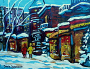 Montreal Streetscenes Painting Prints - Beautiful Winter Evening Print by Carole Spandau