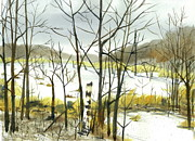 Beaver Pond Paintings - Beaver Pond in November by Bud Bullivant