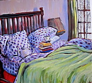 Pattern Books Framed Prints - Bed And Books Framed Print by Tilly Strauss
