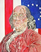 John Keaton Drawings - Benjamin Franklin by John Keaton