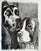 Dogs Drawings - Best Friend by Bob Crawford