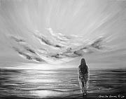 Sunsets Original Paintings - Beyond the Sunset Black and White by Gina De Gorna