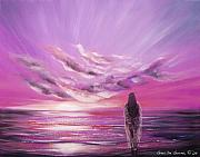 Sunsets Original Paintings - Beyond the Sunset in Purple Color by Gina De Gorna