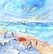 Atlantic Beaches Drawings Posters - Biarritz 22 Poster by Miki De Goodaboom