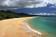 Sea Wave Posters - Big Beach Makena Maui Hawaii Poster by Pierre Leclerc