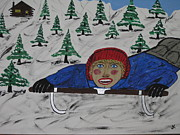 Red Cheeks Posters - Big D Sled Riding  Poster by Jeffrey Koss