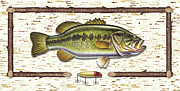 Largemouth Posters - Birch Bass Poster by JQ Licensing