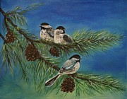 Little Birds Paintings - Birdie Paradise by Leslie Allen