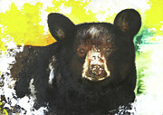 Threat Mixed Media Posters - Black Bear Poster by Anthony Burks