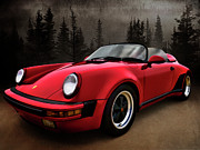 911 Digital Art Prints - Black Forest - Red Speedster Print by Douglas Pittman