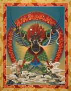 Tibetan Paintings - Black Garuda - Tsasum Tersar by Sergey Noskov