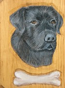 Lab Pyrography - Black Lab by John  Lang