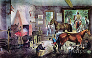 Equine Art Artwork Prints - Blacksmith Workshop, 19th Century Print by Photo Researchers