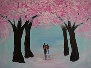 Cherry Blossoms Painting Originals - Blossoming Romance by Leslie Allen